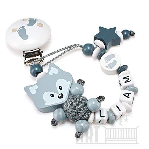 Schnullerkette mit Namen für Mädchen und Jungs - große Farbauswahl (3D Fuchs mit Füßchenclip und Scheibe, grau)