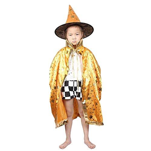 Costume de sorcière, OUTGEEK Costume de Halloween Cosplay Chapeau et chapeau de sorcière pour enfants (Jaune)