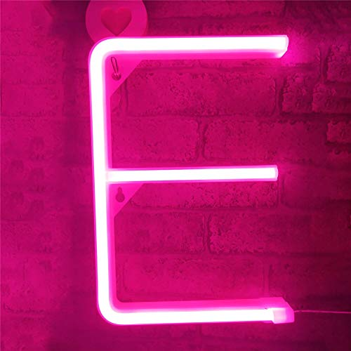 VIONNPPT LED Neon Brief Nachtlicht, Buchstabe Licht Alphabet Nachtlichter, Batterie/USB Powered, für Kinder Schlafzimmer Weihnachtsfeier Hochzeit Dekorationen, Rosa (E)