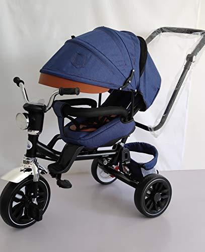 Driewieler voor baby's, toral, jeansstof, 2-in-1, met zonnedak en afneembare stang, 18 m