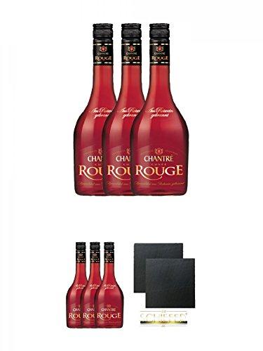 Chantrè Cuvee Rouge 3 x 0,7 Liter + Chantrè Cuvee Rouge 3 x 0,7 Liter + Schiefer Glasuntersetzer eckig ca. 9,5 cm Ø 2 Stück