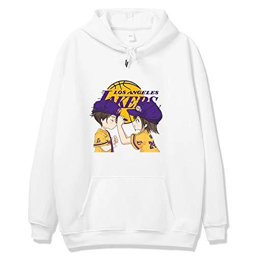 MEIGUI Lakers con Capucha de Baloncesto de Manga Larga, Camiseta de Baloncesto Femenino, Primavera y otoño Hombres Jersey, Pareja suéter Encapuchado White-Medium