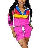 VOIKERDR Women 2 Piece Outfits Tracksuit Jumpsuits Lightweight Windbreaker Pullover Jacket Crop Top Pants Set Rose L