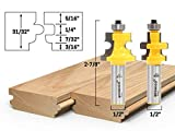Yonico 15230 Flooring 2 Bit Tongue and Groove Flooring Router Bit Set 1/2-Inch Shank