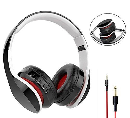 Nicksea Bluetooth Kopfhörer Wireless Sport Headset 4 in 1 Function Faltbare On Ear Headphones CVC6.0 HiFi Audio Noise Cancelling Ohrhörer mit Mikrofon für iPhone, Android, PC, TV usw.