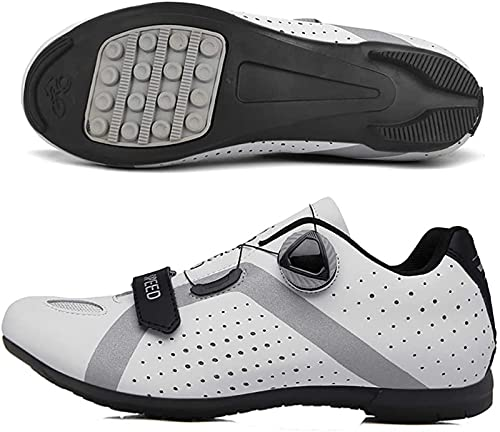 WYUKN Calzado de Ciclismo para Hombre,Zapatillas MTB Zapatillas de Ciclismo Zapatillas de Ciclismo de Carretera Planas Sin Sistema de Clic Sin Placa de Zapata,White-40 EU