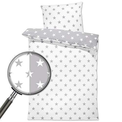 Baby Bettwäsche Set - Kinderbettwäsche Babybettwäsche mit Kissenbezug 40x60 aus Baumwolle (3. Weiß mit Grauen Sternen / Grau mit Weißen Sternen, 100 x 135 cm)
