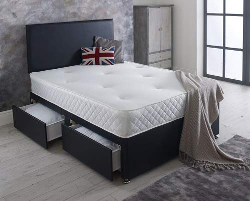 Reve Ortho Divan bed Single 3ft with mattress and headboard and 2 drawers - Single (3ft) - 90cm x 190cm