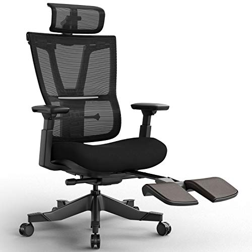 Reclining Office Desk Chair, Ergonomic Office Chair with Footrest, High-Back Desk Chair with Lumbar Support, Height Adjustable Seat, Headrest, Breathable Mesh Back, Soft Foam Seat Cushion (Black)