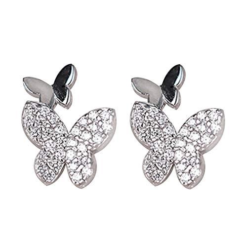 Ruby569y Pendientes colgantes para mujeres y niñas, pendientes de mariposa con clip de oreja brillante para fiesta, boda, accesorio de regalo - 03