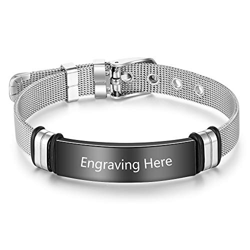 Smileface Personalised ID Bracelets for Woman - Stainless Steel Adjustable Band Emergency Mens Silver Bracelets - Sport ID for Athletes And Official ID Wristband - Customised Engrave Text Bracelet