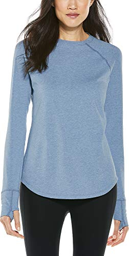 Coolibar UPF 50+ Women's LumaLeo Long Sleeve T-Shirt - Sun Protective (X-Large- Light Blue Heather)