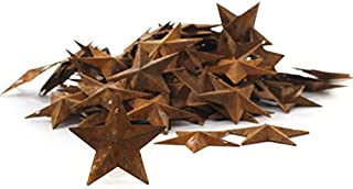 Factory Direct Craft Package of 100 Rusted Tin Dimensional Miniature Barn Stars with Hole and Hollow Backs