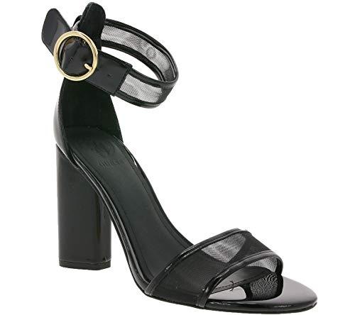 Guess Schuhe Absatz-Sandaletten Elegante Damen Riemchen-Sandale mit transparenten Details Abend-Schuhe Freizeit-Schuhe Schwarz, Größe:38