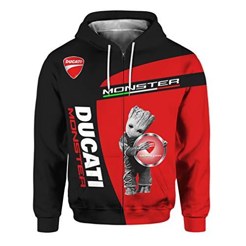 Cronell Story Unisex Langarm Hoodie 3D Digital International Ducati Logo Print Sweatshirt Lässiges Sweatshirt (2,XL)