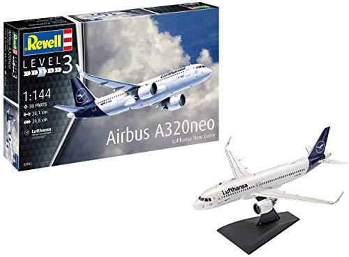 Revell 03942 Airbus A320 neo Lufthansa New Livery, Flugzeugmodellbausatz 1:144, 26,1 cm Modelmaking, Unlackiert