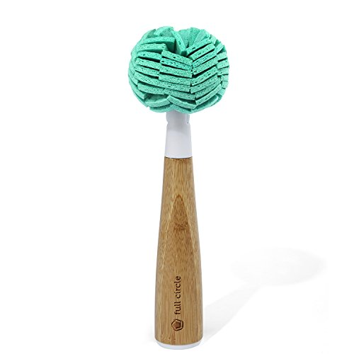 Full Circle Crystal Clear 2.0 Replaceable Bamboo Handle Glassware & Dish Cleaning Sponge, 1 EA, Glass Cleaner - White