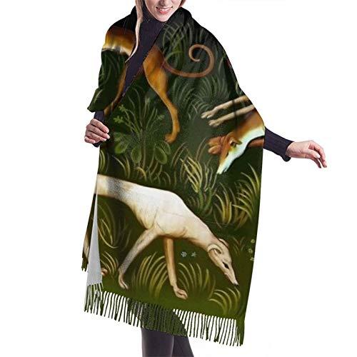 Bufanda de otoño invierno para mujer con galgos de galgos clásica bufanda cálida suave grande manta abrigo chal bufandas