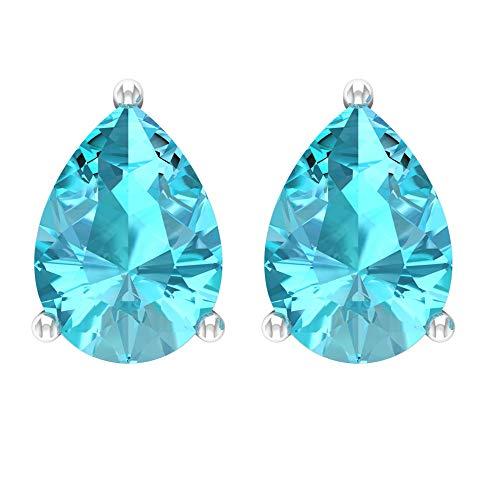 Rosec Jewels 10 quilates oro blanco pera Blue Topacio azul - Suizo