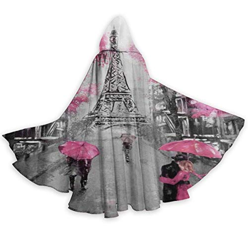 Zome Lag Capa del Cabo para Adultos Vintage Paris Street Torre Eiffel Floral Halloween Capas con Capucha Disfraces Capas De Cosplay Bata Bruja Fiesta Capa con Capucha