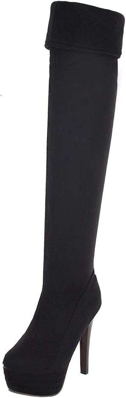 Kikiva Womens Lepoard High Heel Stiletto Over Knee Boots Platform Thigh High Boots Strech
