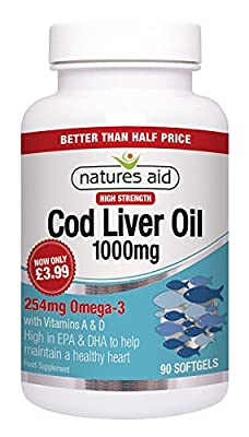 Natures Aid Cod Liver Oil High Strength (1,000mg, 90 Capsules) by Natures Aid