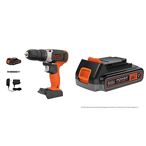 beyond by BLACK+DECKER 20V MAX Cordless Drill/Driver with Extra 2.0 Ah Lithium Ion Battery (BCD702C1AEV & LBXR2020APB)