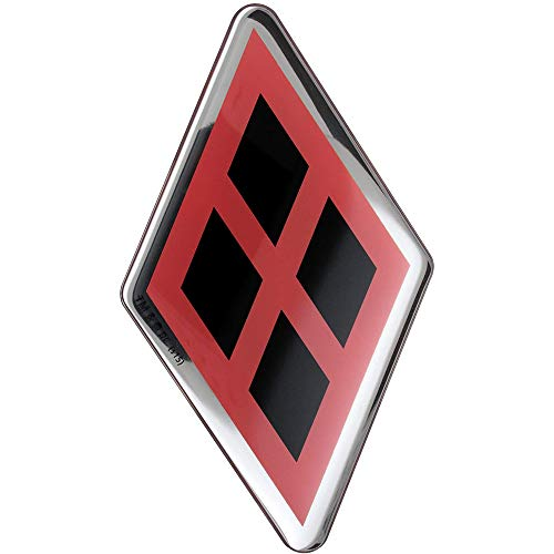 Harley Quinn Logo Domed Car Decal (Chrome, Black Diamonds on Red) DC Comics Automotive Emblem Sticker Applies Easily to  Cars, Trucks, Motorcycles, Laptops, Cellphones, Almost Anything