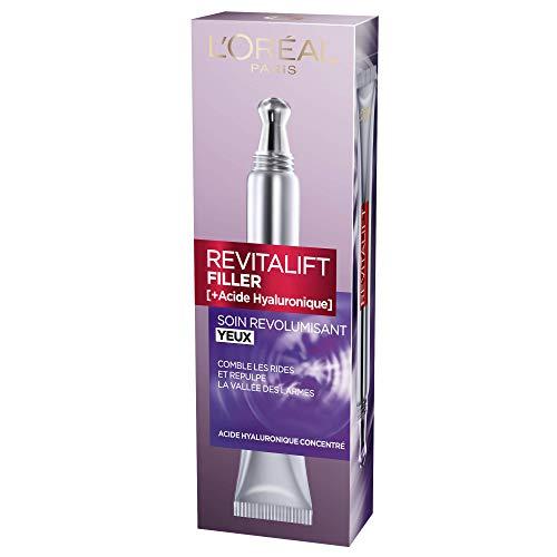L'Oréal Paris – Soin Yeux Revolumisant – Embout Double Applicateur Révolutionnaire – Revitalift filler – Concentré en Acide Hyaluronique Pur – 15 ml