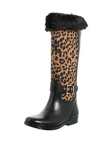 Guess Cicely Stiefel Damen Schwarz/Leopard - 35 - Gummistiefel Shoes