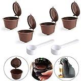 Cápsula de café reutilizable, recargable, reutilizable, 4 unidades, sin BPA, cápsulas de café reutilizables para Dolce Gusto (marrón)