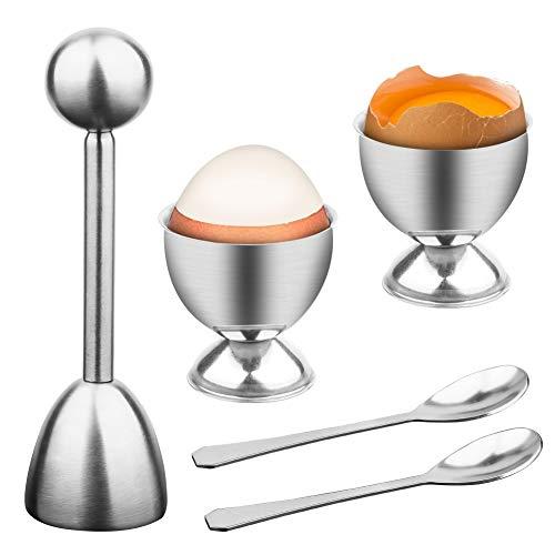Coupe-œuf Outil D'Oeuf en Acier Inoxydable avec cuillères et coquetiers, en Acier Inoxydable Coupe-Coquille pour Oeufs durs et Mous, toqueur ouvre-Oeufs pour la Maison Cuisine