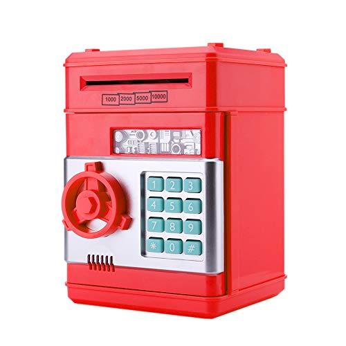 InnerSetting - Hucha con contraseña para niños, automática, electrónica, para Guardar Dinero en Efectivo, Monedas, Voz Inteligente, Caja de Ahorro de Dinero, Rojo