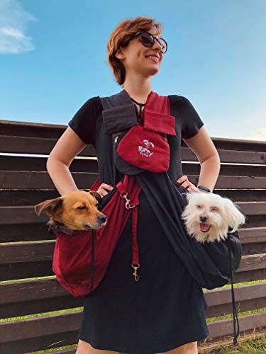 Puppy Eyes Waterproof Pet Carrier Sling Comfortable and Adjustable Dog Sling Ideal for Small & Medium Dogs up to 16 lb - Lightweight & Easy-Care Dog Carrier with Bonus car seat Belt and E-Book (red)
