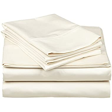 4 pcs sheet set Ultra Soft- Brushed Microfiber With Top Header - Wrinkle & Fade Resistant, Hypoallergenic Sheet & Pillow Case Set Queen Size Ivory Solid