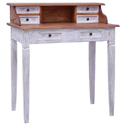 Festnight Schreibtisch mit 6 Schubladen und 1 Fach Computertisch Laptoptisch Büromöbel Homeoffice, Büro, Arbeitszimmer, Wohnzimmer 90×50×101 cm Massivholz Altholz