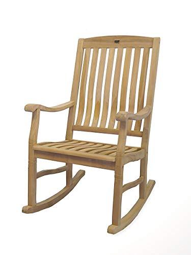 Schaukelstuhl aus Teak Massivholz | für drinnen und draußen geeignet | unbehandelte Oberfläche (9474)