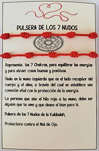 SabelAX Pulsera 7 Nudos Roja - Hilo Rojo - Protección Mal de Ojo y Buena Suerte...
