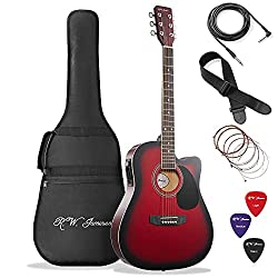 Best Acoustic Electric Guitar under 200 US Dollars - Jameson Guitars Red Fullsize Thinline Acoustic Guitar