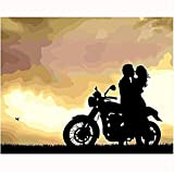 Hxfhxf Moto Donna Moderna Pittura A Motore Immagine dai Numeri Pittura A Olio Astratta Decorazioni per La Casa Tela Pittura Arte della Parete Frameless 40X50Cm