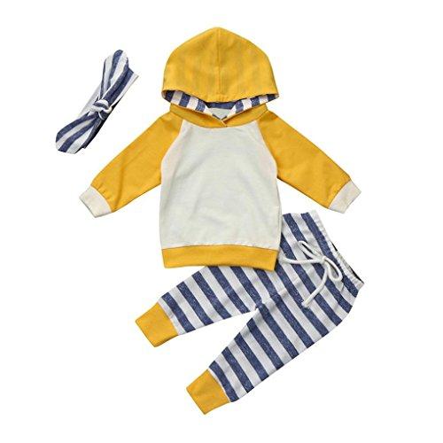 kingko 3pcs Bébé Garçon Fille Vêtements Set Hoodie Tops + Pantalon + Tenues de Bandeau (0-3 Mois)