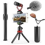 Movo Smartphone Video Rig avec Mini trépied Extensible, Microphone de Fusil de...
