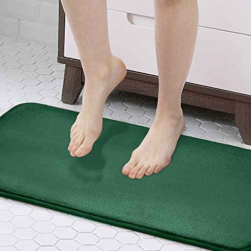 Walensee Extra Thick Memory Foam Bath Rug (17x24 Hunter Green) Non Slip Absorbent Super Cozy Velvet Bathroom Mat, Luxury Soft Plush Small Carpet for Bath Room Shower Floor Tub, Machine Wash Dry