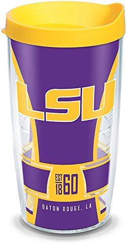 Tervis 1338387 LSU Tigers Spirit Insulated Tumbler with Wrap and Yellow Lid, 16 oz, Clear