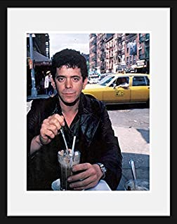 Stick It On Your Wall Lou Reed - at The Cafe Figaro Greenwich Village NYC 1982 (White Mount) Framed Mini Poster - 44x34cm