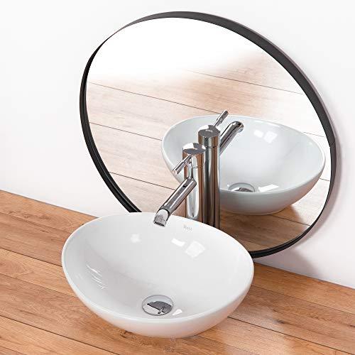 VBChome Waschbecken 40 x 33 cm klein Keramik Oval Waschtisch Handwaschbecken AUFSATZWASCHBECKEN WASCHSCHALE GÄSTE WC