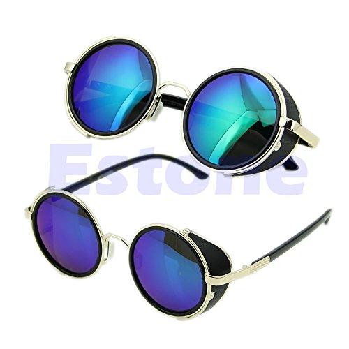Lamdoo Gafas de Sol Estilo Vintage Estilo Retro, Estilo Vintage, Estilo Steampunk 50s Gold Green