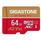 Gigastone Scheda di Memoria Micro SDXC da 64 GB, 4K Game Pro Serie, A2 U3 V30 UHS-1, Velocità Fino a 95/35 MB/s. (R/W). Specialmente per Fotocamere Videocamera Nintendo Switch, con Adattatore SD