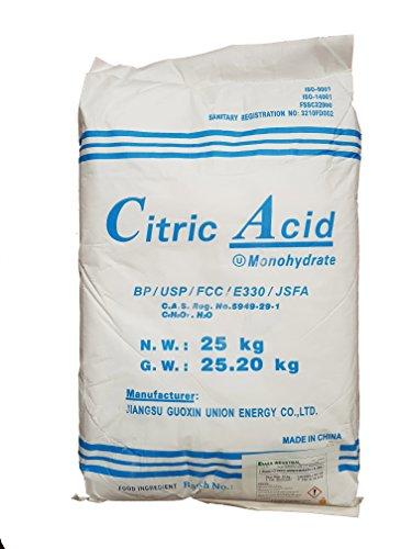 Biovital Ácido Cítrico 25 kg, Calidad Premium, Polvo Anhidro, Natural, 100% Puro, para Producción ecológica. Producto CE