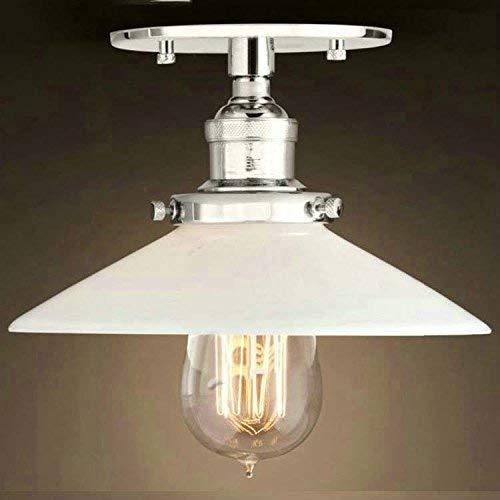 DEJ Semi-Flush Mount Lamp 22Cm E27 Celling Licht Keuken Lamp Plafond Bevestiging Industriële Verlichting Chroom met Lampenkap